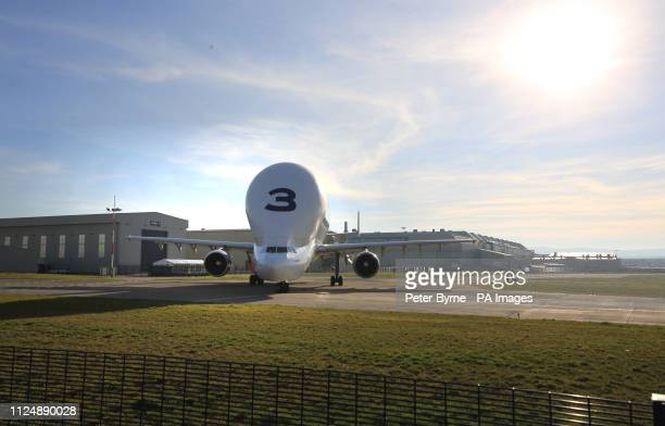 An Airbus Beluga transporter aircraft at Hawarden Aerodrome in Broughton