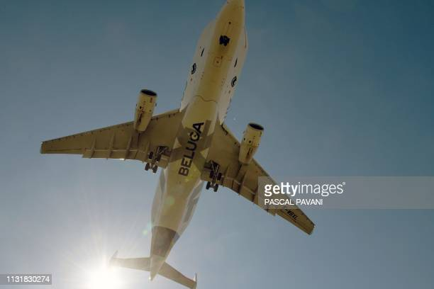 An Airbus Beluga XL aircraft flies over the Airbus and ATR sites on March 20 2019 in SaintMartin du Touch