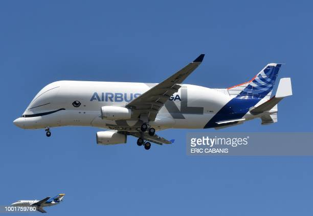An Airbus 'BelugaXL' aircraft comes into land at ToulouseBlagnac on July 19 after its maiden test flight of some four hours The Beluga XL the new...