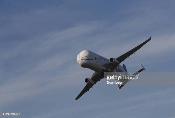 An Airbus BelugaXL supertransporter aircraft arrives at Hawarden Airport near the Airbus SE plant in Broughton UK on Thursday Feb 14 2019 Airbus...