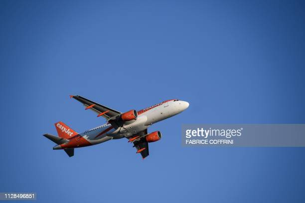 An Airbus commercial coplane of British low cost airline EasyJet takes off on February 28 2019 in Geneva