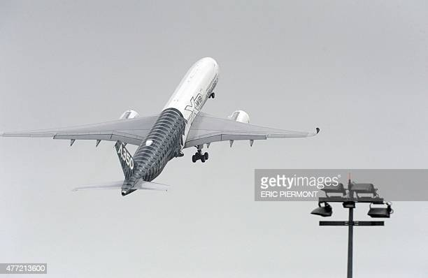 An Airbus longhaul plane A350 XWB takes off on the opening day of the International Paris Airshow in Le Bourget outside Paris on June 15 2015 AFP...