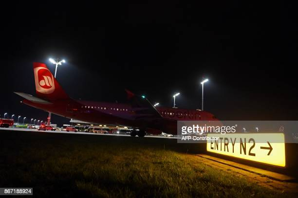An airbus of German airline Air Berlin the last scheduled flight taxis to the run way before take off at FranzJosefStrauss airport in Munich southern...
