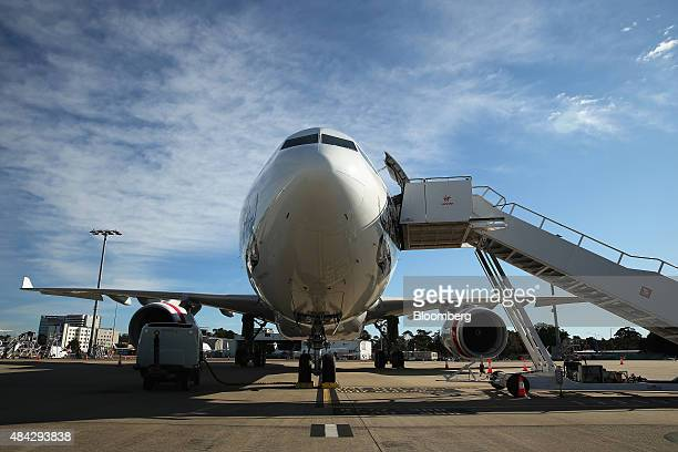 An Airbus SAS A330 aircraft operated by Virgin Australia Holdings Ltd stands at Sydney Airport in Sydney Australia on Monday Aug 17 2015 Virgin...