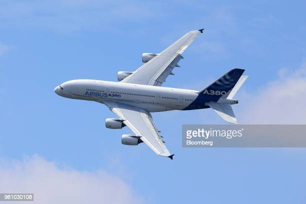 An Airbus SAS A380 super jumbo performs a flying display on day two of the 51st International Paris Air Show in Paris France on Tuesday June 16 2015...