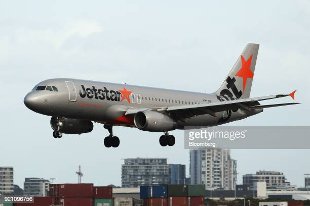 An Airbus SE A320200 aircraft operated by Jetstar Airways the lowcost unit of Qantas Airways Ltd approaches to land at Sydney Airport in Sydney...
