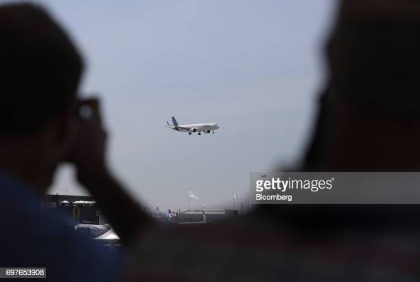 An Airbus SE A321 Neo passenger aircraft prepares to land following a flying display at the 53rd International Paris Air Show at Le Bourget in Paris...