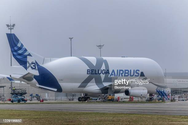 An Airbus SE A330 Beluga XL super-transporter aircraft at Toulouse Blagnac Airport in Toulouse, France, on Thursday, Oct. 8, 2020. For the more than...
