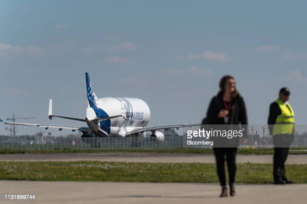 An Airbus SE Beluga XL supertransporter aircraft prepares to take off from the Airbus factory in Toulouse France on Wednesday March 20 2019 Just as a...