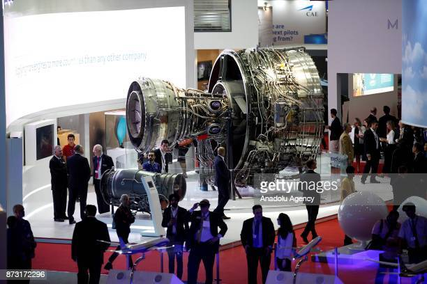 An aircraft engine is being displayed during the Dubai Airshow 2017 at Al Maktoum International Airport in Dubai United Arab Emirates on November 12...