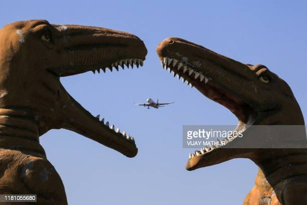 TOPSHOT An aircraft flies past sculptures of dinosaurs at the 'Valley of Animals' park in Chandigarh on November 9 2019