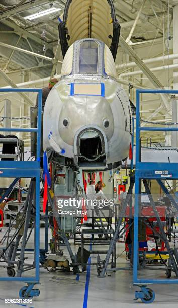 An aircraft mechanic works on an A10 Thunderbolt Warthog on December 20 2017 at Hill Air Force base in Ogden Utah Hill Air Force Base has one of the...