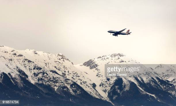 An aircraft of British Airways prepares for landing at the Nordkette Mountain on January 28 2018 in Innsbruck Austria