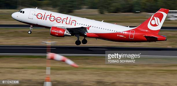 An aircraft of German airline Air Berlin takes off from the Tegel airport in Berlin on September 29 2016 Struggling Air Berlin Germany's...