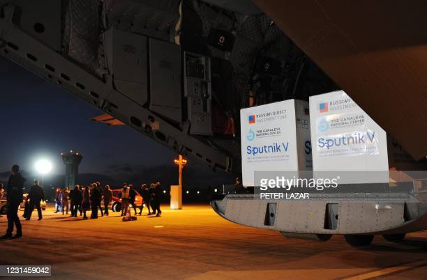An aircraft of the Slovak Army carrying doses of the Sputnik V vaccine against the coronavirus stands on the tarmac upon arrival from Moscow, at the...