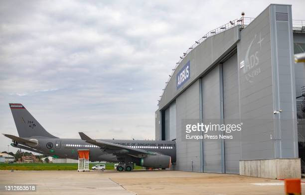 An aircraft on the runway of the new Airbus campus, 15 April 2021, in Getafe, Madrid, Spain. This campus will make the region the third largest...