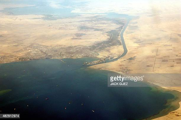 An airial view taken 31 December 2007 shows the southern entrance of Egypt's Suez Canal Transit fees for ships using Egypt's Suez Canal will increase...