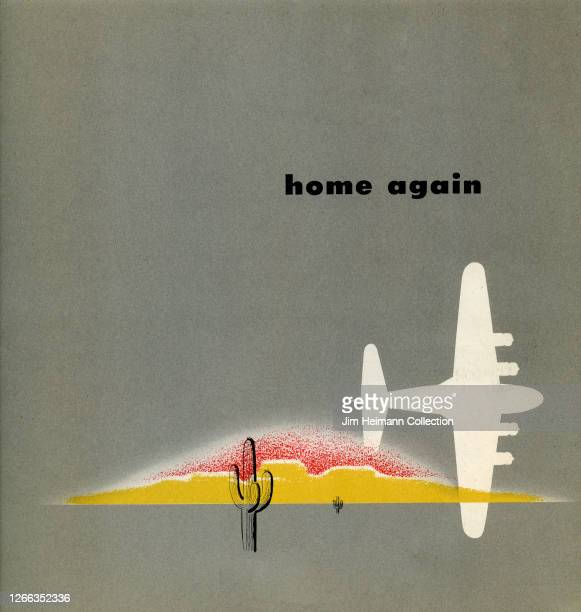 An airline brochure displays a modern illustration of an airplane flying over a desert, circa 1946.
