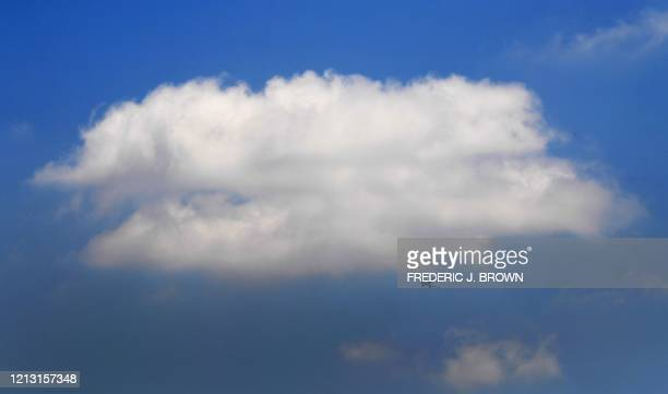 An airline clears a layer of pollution hovering over Los Angeles, for the blue sky above on May 15, 2020. - The Airline and travel industries have...