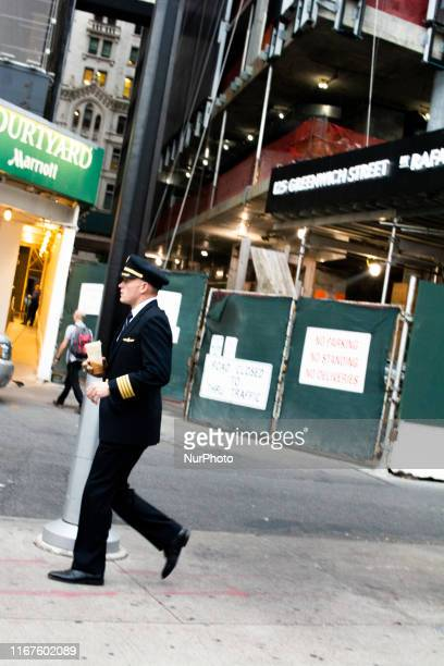 An airline pilot on his way to the September 11 Memorial Ceremony on the 18th Anniversary of the World Trade Center attack