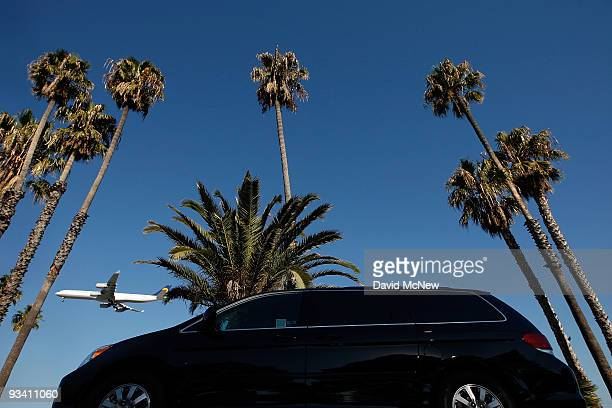 An airliner approaches to land at Los Angles International Airport on the eve of Thanksgiving on November 25 2009 in Los Angeles California A survey...