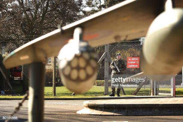 An airman guards the entrance to The Royal Airforce airbase at Wittering on March 7 2008 near Peterborough England Air Force personnel from RAF...