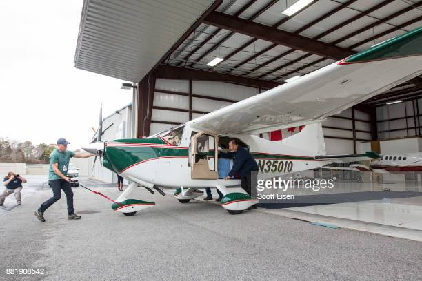 An airplane carrying a total of 30 Kemp's ridley sea turtles the world's most endangered species of sea turtle is pushed out of a hangar at...