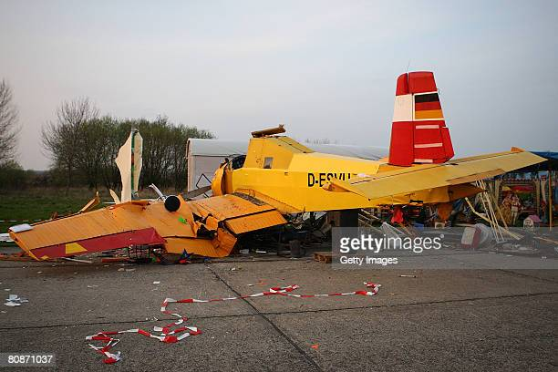 An airplane crashed into a snack booth during an airshow on April 26 2008 in KindelEisenach Germany The 45 year old saleswoman of the snack booth has...