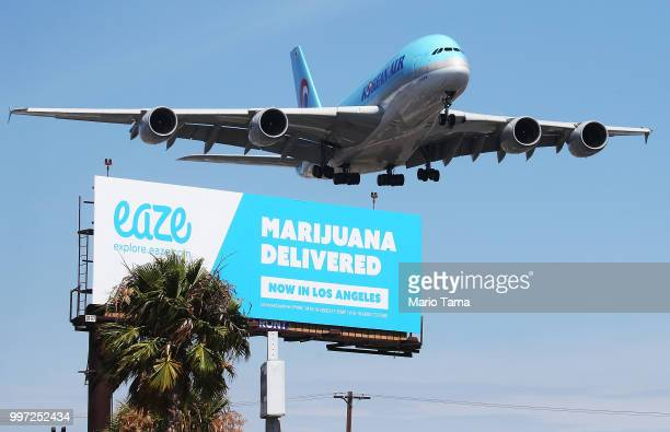 An airplane descends to land at Los Angeles International Airport above a billboard advertising the marijuana delivery service Eaze on July 12 2018...