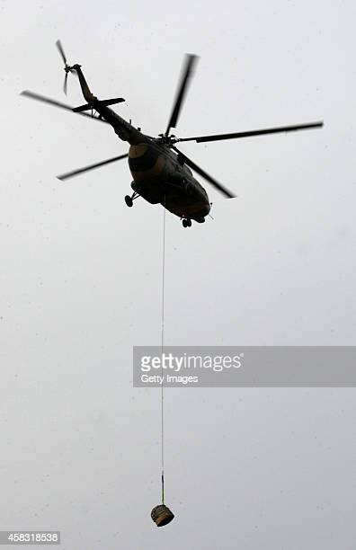 An airplane is seen at Siziwang Banner during China's Chang'e3 lunar probe returning back on November 1 2014 in Inner Mongolia China The lunar...