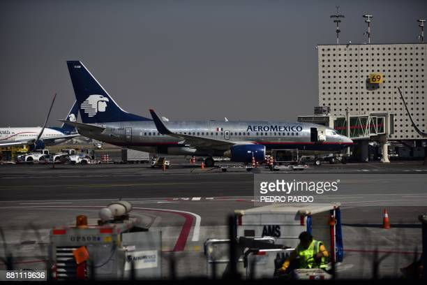 An airplane of Aeromexico sits on the tarmac at Mexico City's international airport on November 28 as pilots of the Mexican flag carrier airline hold...