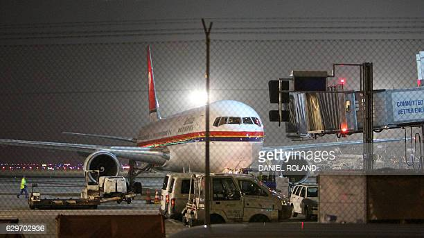 An airplane of Meridiana airline chartered to deport refugees back to Afghanistan prepares to take off at the airport in Frankfurt am Main western...