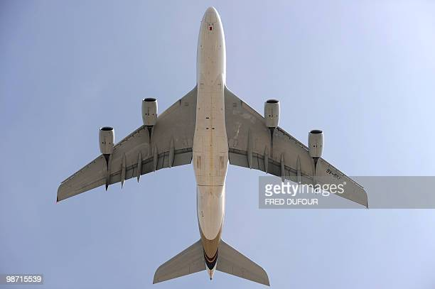 An airplane takes off at Roissy-Charles-de-Gaulle airport on April 21, 2010 in Roissy-en-France, northern Paris. All long-haul passenger services to...