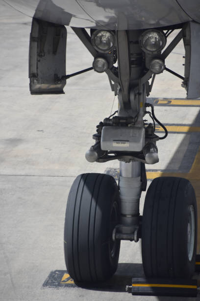 An airplane wheel, Close-up