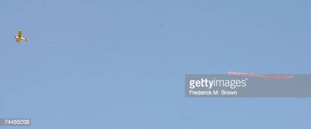 An airplane with a banner expressing support for Paris Hilton flies over Municipal Court on June 8 2007 in Los Angeles California
