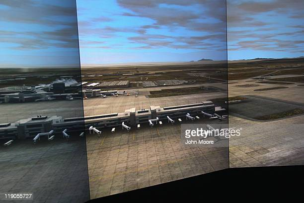 An airport tower simulator awaits trainees on July 14 2011 at the Denver International Airport in Denver Colorado The Federal Aviation Administration...