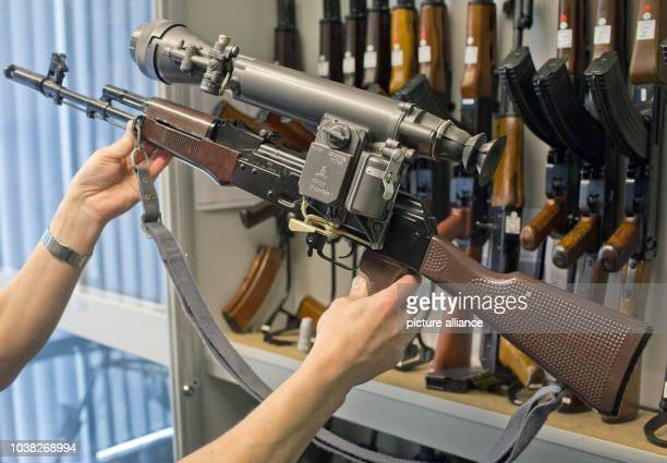 An airsoft gun in the design of a Kalashnikov AK74 is presented at the armoury of the State Criminal Police Office of MecklenburgWestern Pomerania in...