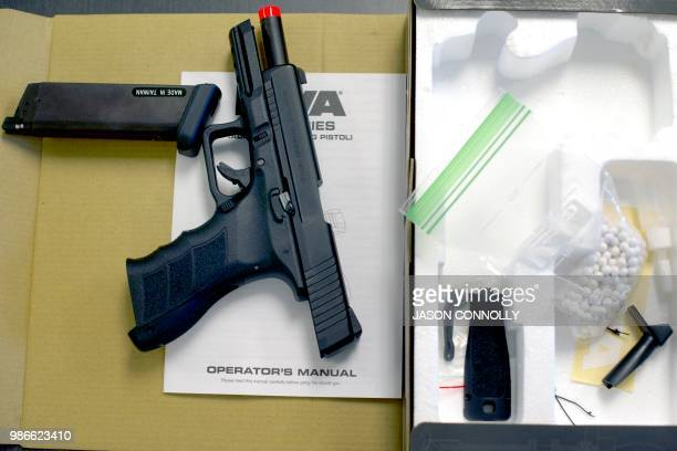 An Airsoft pistol lies on a table during a three day firearms course for school teachers and administrators sponsored by FASTER Colorado at Flatrock...
