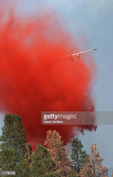 An airtanker drops a load of fire retardant to keep the outofcontrol McNally fire from jumping a road July 25 2002 in the Sequoia National Forest...