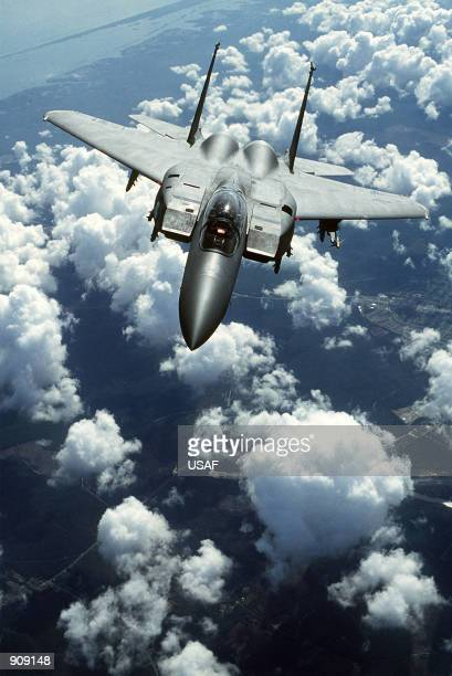 An airtoair front view of an F15E Strike Eagle aircraft of the 336th Tactical Fighter Squadron