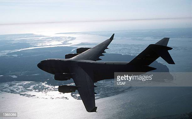 An air-to-air view of a C-17 Globemaster III from the 437th Airlift Wing is seen March 20 at the Charleston Air Force Base, South Carolina.