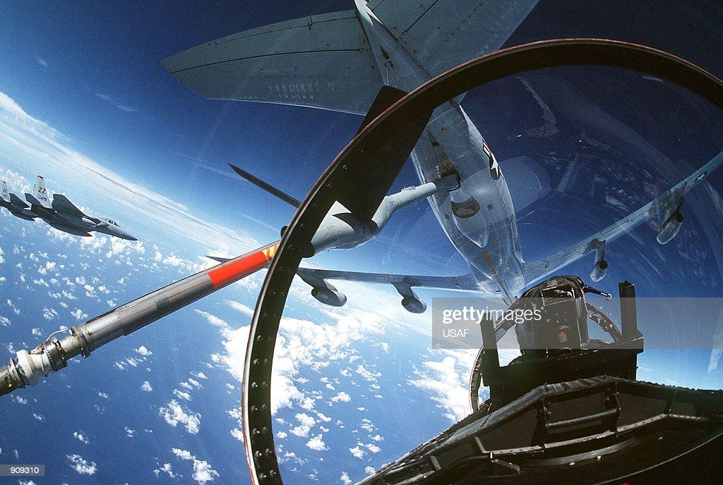 Aircraft preparing to refuel an F-15 Eagle aircraft : News Photo