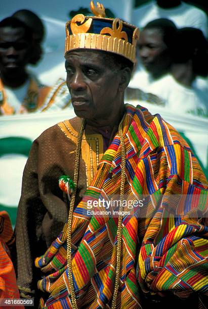 An Akan king wearing traditional kente cloth and ancestral gold at a reception in Abidjan Ivory Coast West Africa