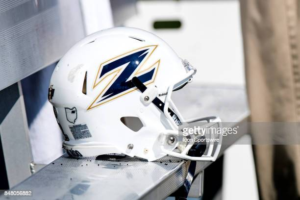An Akron Zips helmet on the bench during the first quarter of the college football game between the Iowa State Cyclones and Akron Zips on September...
