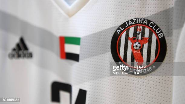 An Al Jazira shirt hangs in the changing room ahead of the FIFA Club World Cup UAE 2017 Semi Final between Al Jazira and Real Madrid CF at the Zayed...