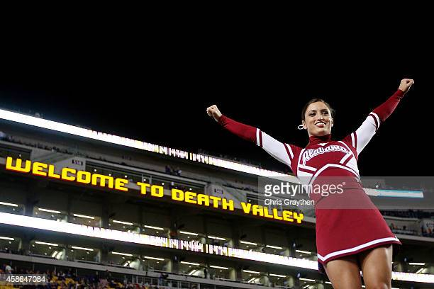 An Alabama Crimson Tide cheerleader performs before a game against the LSU Tigers at Tiger Stadium on November 8 2014 in Baton Rouge Louisiana