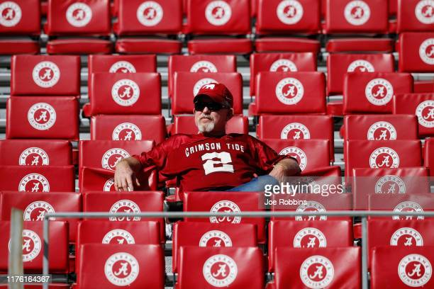 An Alabama Crimson Tide fan arrives early before the game against the Southern Mississippi Golden Eagles at Bryant-Denny Stadium on September 21,...