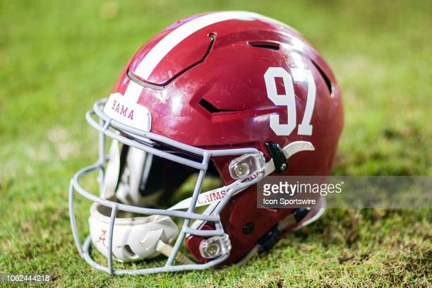 An Alabama Crimson Tide helmet rests on the sideline during a game between the LSU Tigers and Alabama Crimson Tide on November 3 2018 at Tiger...