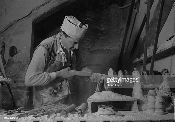 An alabaster artisan at work in 1950