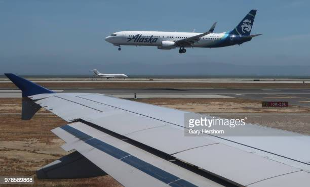 An Alaska Airlines airplane lands at at San Francisco International Airport on June 15 2018 in San Francisco California